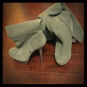 Grey Suade Stiletto boots